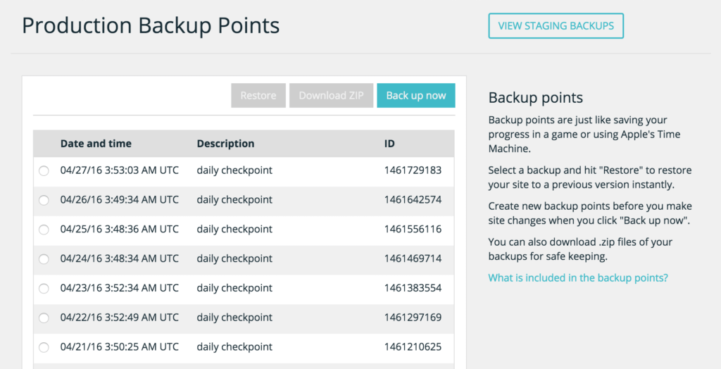 WP Engine Backup Points