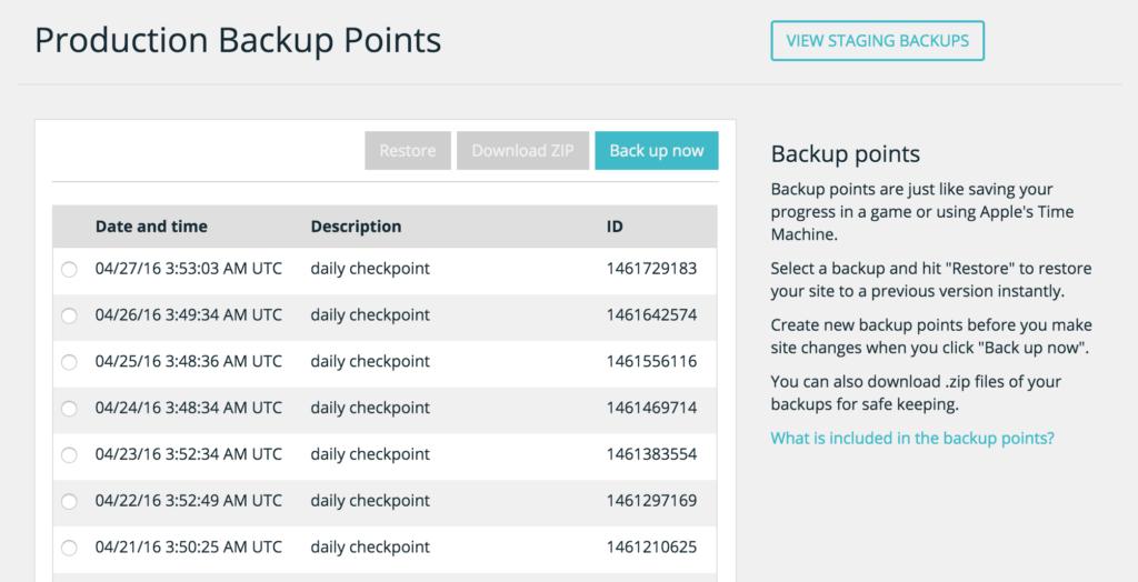 WP Engine Backup Points