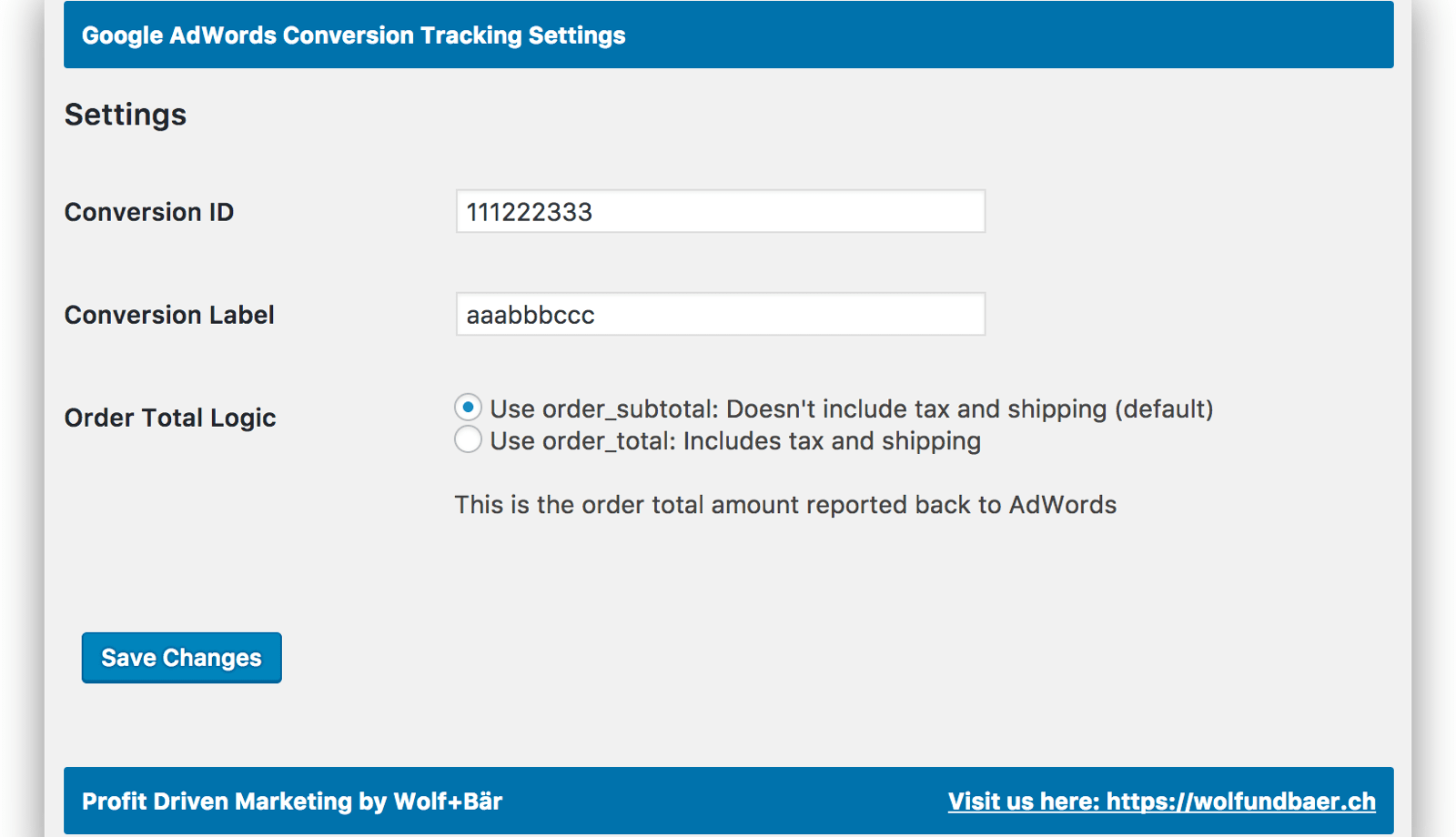 Woocommerce AdWords Conversion Screenshot